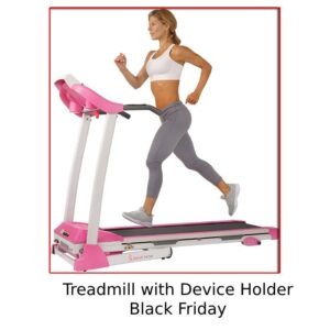 Sunny Health & Fitness Folding Treadmill with Device Holder, Shock Absorption, and Incline